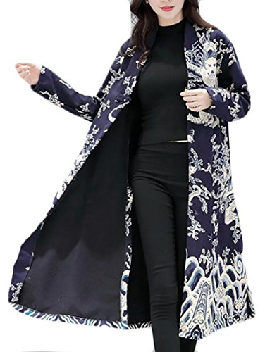 Dragon TTYLLMAO Women's Blue Vintage Coat Lightweight Print Trench Jacket Long 6wFwf