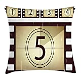 Queen Area Movie Theater Scratched Film Strips Vintage Movie Frame Pattern Grunge Square Throw Pillow Covers Cushion Case for Sofa Bedroom Car 18x18 Inch, Beige Brown White