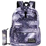 Galaxy School Backpack, Travel Bag Unisex School Bag Collection Canvas Backpack (Black with Pencil Bag)