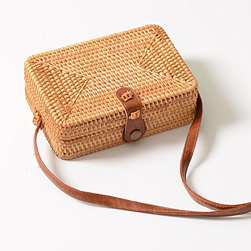 Women Rattan Woven Square Shoulder Bags Satchel Beach Everpert Handbags Straw Summer P5qE7qxwf