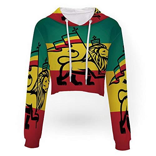 Sexy Women Sweatshirt,Rasta,Sport Crop Top Sweatshirt Jumper Pullover Tops