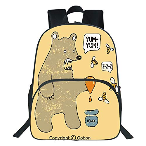 (Oobon Kids Toddler School Waterproof 3D Cartoon Backpack, Cute Caricature Style Bear with Bees and Honey Saying Yum Yum Kids Comic Graphic, Fits 14 Inch Laptop)