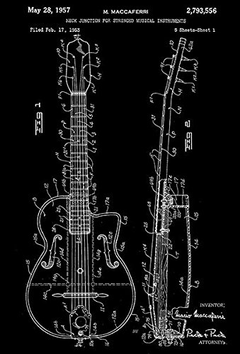 1957 - Neck Junction for Musical Instruments - Guitar - Patent Art Poster