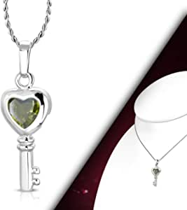 Women Silver necklace with key pendent and shiny crystal