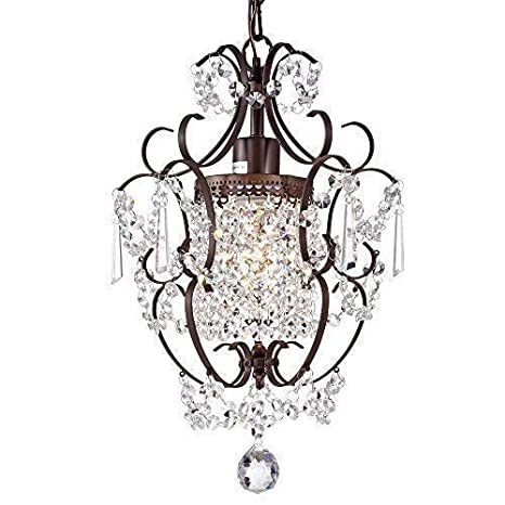 5b71ffbcdb Amazon.com  Crystal Chandelier Lighting Bronze Chandeliers 1 Light Iron  Ceiling Light Fixture 17011  Home Improvement