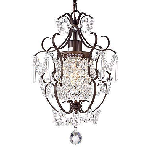 (Crystal Chandelier Lighting Bronze Chandeliers 1 Light Iron Ceiling Light Fixture 17011)