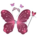 wire butterfly wings - ESHOO Kid Girl Butterfly Wing Wand Headband Fairy Xmas Party Costume 3Pcs/set
