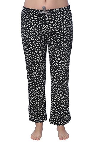 Active Club Women's Warm Printed Cozy Plush Lounge Pajama Pants (X-Large, Leopard White) (Lounge Pants Leopard)