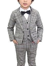 Boys Grid Wedding Suit Formal Dress Jacket Pant Grey Set 4Pcs Size for 3-8