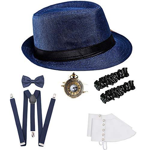 (ICEVOG Mens 1920s Accessories Set Gatsby Gangster Costume Panama Manhattan Fedora Newsboy Cap Hat Suspenders Garters Spats)