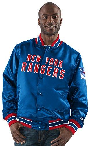 STARTER NHL New York Rangers Men's The Closer Satin Full Snap Jacket, Large, Royal ()