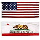 US Flag with California State Flag 5' X 8' - 100% American Made - Nylon