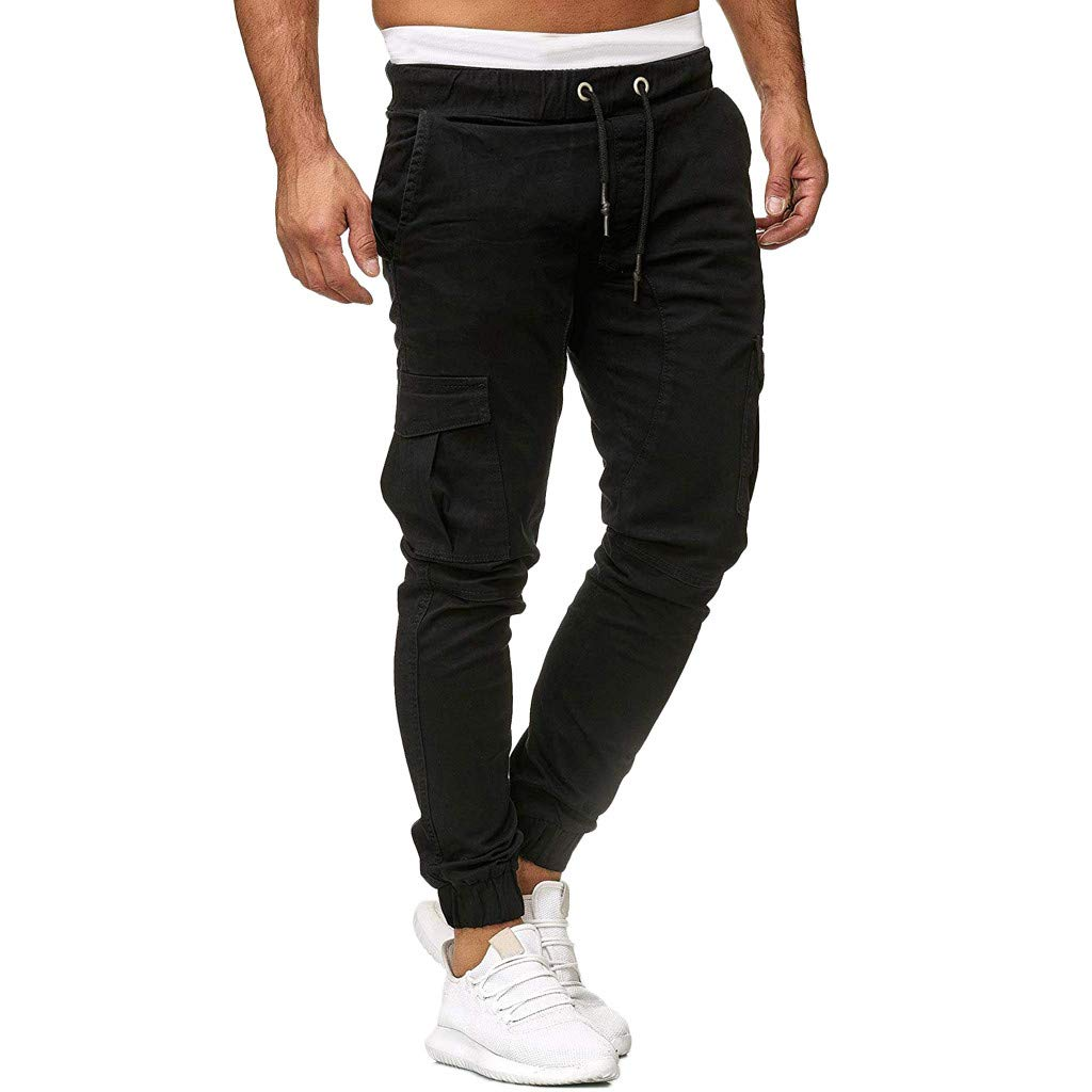ALOVEMO Men Sweatpants Slacks Casual Elastic Joggings Sport Solid Baggy Pockets Trousers Black