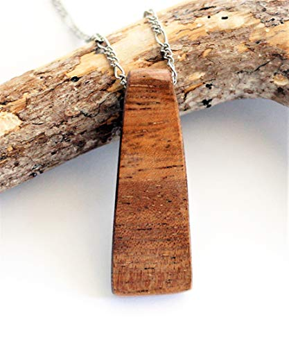 Reclaimed Vintage Teak Wood Pendant Sustainable Wooden Necklace