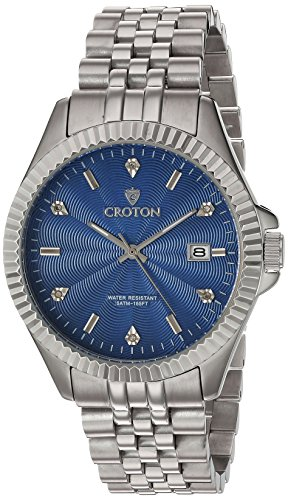 Croton Mens Stainless Steel Watch (CROTON Men's 'Heritage' Quartz Stainless Steel Casual Watch, Color:Silver-Toned (Model: CN307528SSBL))
