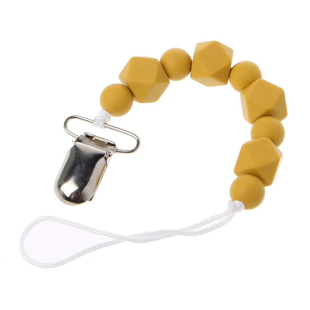MIsha Clip de chupete de beb/é Cadena de chupete de cuentas de silicona Silicona ecol/ógica y sin BPA(Amarillo)
