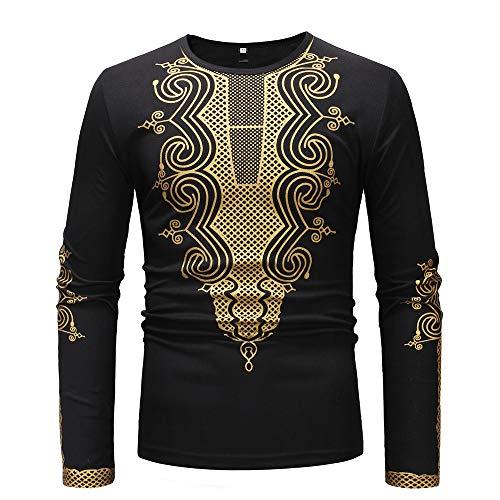 Koolsants Shirts for Men, Mens Autumn Winter Luxury African Gold Print Long Sleeve Dashiki Top Blouse