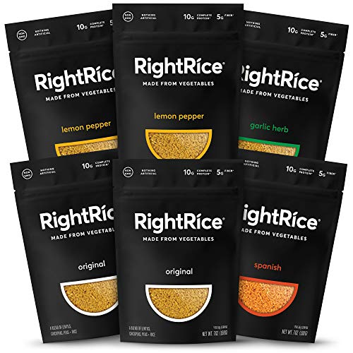 RightRice Variety Pack. Rice Made from Vegetables. 7oz - Pack of 6 Classic White Flavored Sauce