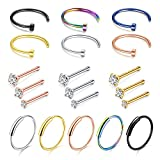 D.Bella Nose Ring Hoop, 22G Nose Rings Studs Piercings Hoop Jewelry Stainless Steel 1.5mm 2mm 2.5mm