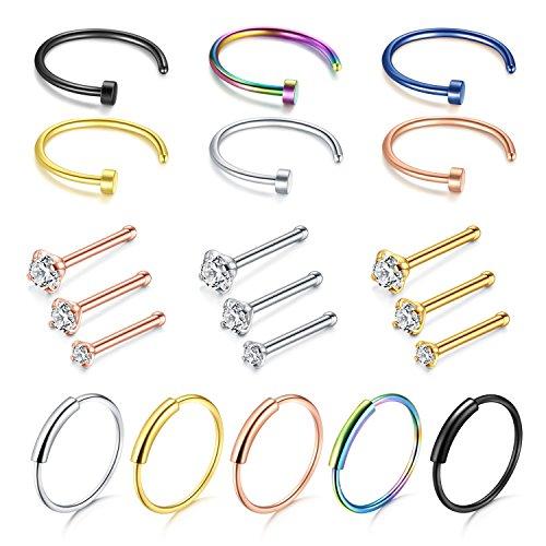 Ring Piercing (D.Bella Nose Ring Hoop, 22G Nose Rings Studs Piercings Hoop Jewelry Stainless Steel 1.5mm 2mm 2.5mm)