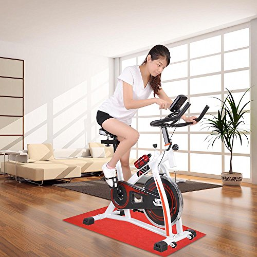 GHP White LCD Display Chain-drive Mechanism Exercise Bike with Sport Bottle & Mat Globe House Products