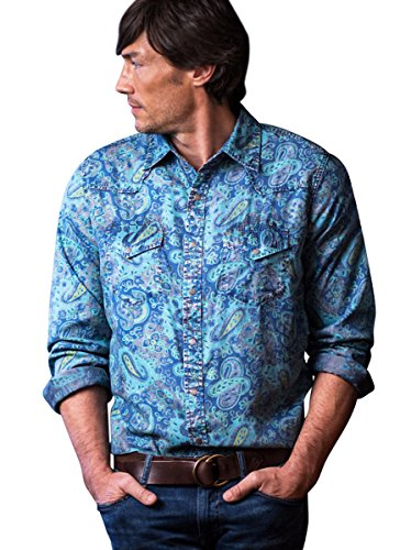 Ryan Michael Indigo Paisley Print Chrome Wash Snaps Western Shirt