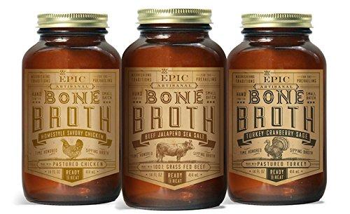 EPIC Bone Broth, 14oz Variety (3 Pack)