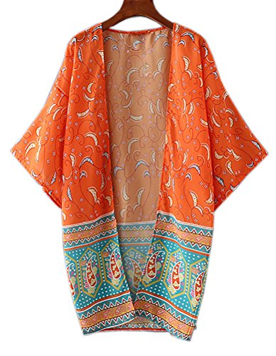 Women's Anti-UV Long Sleeve Rash Guard Swimsuit (Orange) - 8