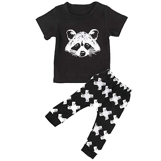 cc611c574898f Amazon.com  Toddler Kids Baby Boys Casual Outfits Set Short Sleeve Cartoon  Print T-Shirt Tops Shorts Pajamas Summer White  Clothing