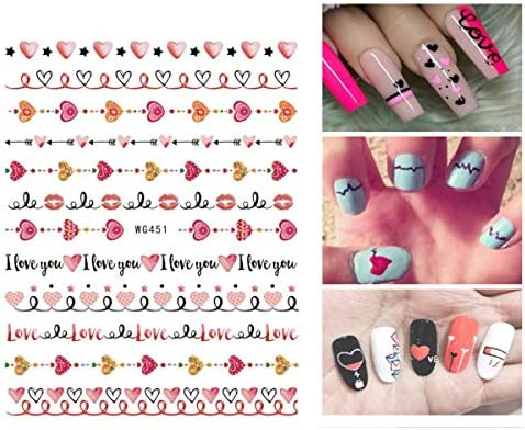Valentine's Day Nail Art Sticker Decals 9 Sheets Sexy Lips Heart Love Design for Lovers Women Nail Decorations Self-Adhesive Nail Tips False Nail Sticker Design