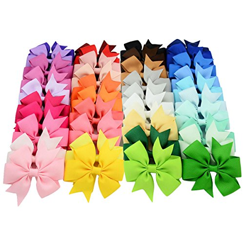 YOY 40 Pcs Fashion Headbands Grosgrain Ribbon Pinwheel Boutique Hair Bows Alligator Clips For Baby Girls Kids Teens Toddlers