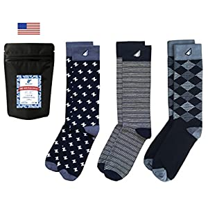 Mens Formal Black White Dress Socks Fun Tuxedo Gift 3-Pack Awesome, Made in USA,Formal Black & White,US Men 8-13, Women 9-15