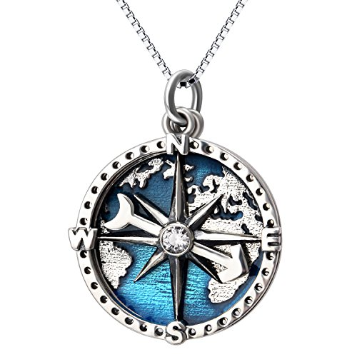 - YFN Compass Pendant Necklace Navy Anchor Travel Map Necklace for Women Men