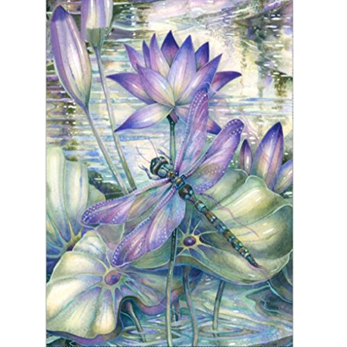 Franterd Purple Lotus & Dragonfly - 5D DIY Diamond Painting By Number Kits Crystal Embroidery Rhinestone Full Drill Cross Stitch Art Craft Pasted in Oil Painting Canvas Home Decor