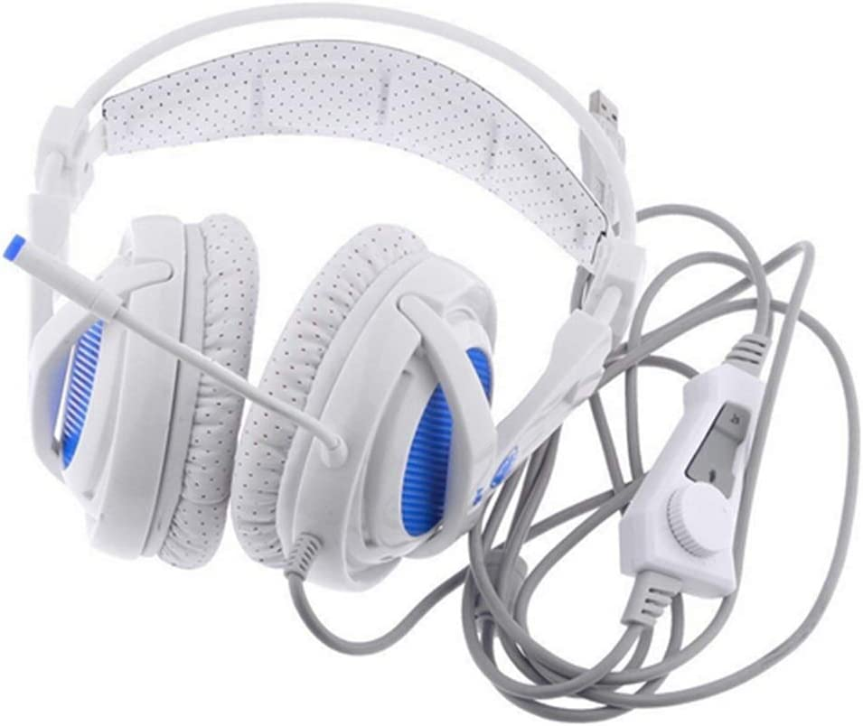DZSF USB 7.1 Stereo Wired Gaming Headphones Game Headset Over Ear with Mic Voice Control for Laptop Computer Gamer A6,White