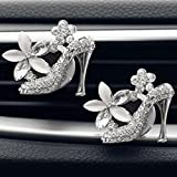 Amiley car fragrance diffuser vent clip , hot sale Car Loving Gift Air Outlet Fragrant Perfume High Heels glitter Bling bling Lips Freshener Diffuser (Silver)