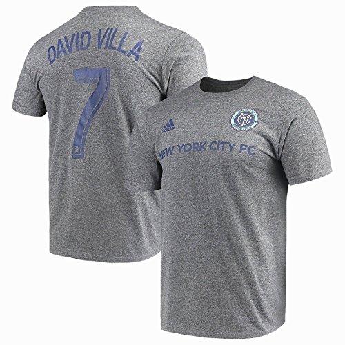 (David Villa New York City FC MLS Player Name and Number Gray T-shirt Adult Medium)