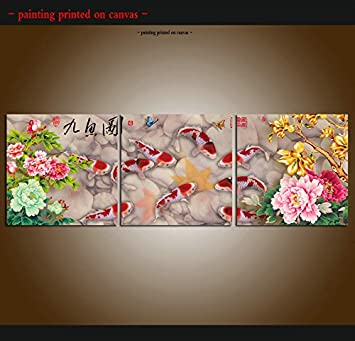 Art Wall China/'s wind Feng Shui Fish Koi painting Printed on Canvas Living Room