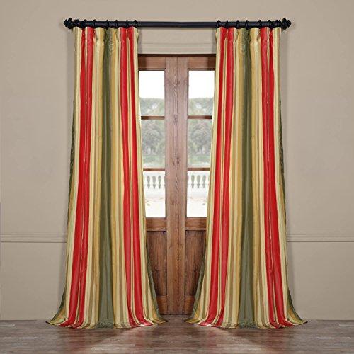 Cheap Half Price Drapes PTSCH-13402-84 Faux Silk Taffeta Stripe Curtain, Orleans