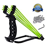 LANREN Powerful Stainless Steel Slingshot, High Velocity Catapult Slingshot with Ammos for Outdoor Hunting Competition