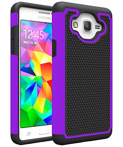 (Galaxy On5 Case, Galaxy G550 Case, MCUK [Shock Absorption] Drop Protection Hybrid Dual Layer Defender Protective Case Cover For Samsung Galaxy On5/G550 (Black+Purple))