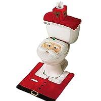 Mbuynow Lot de 3pcs Décoration Noël Toilette en Motif Père Noël Housse de Toilette/Couvercle / Tapis