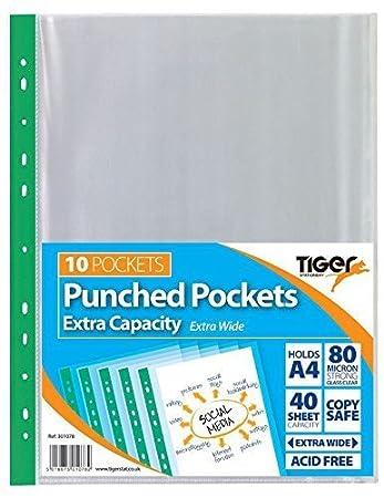 Amazon.com: Tiger A4 Bolsillos punched Capacidad extra 10 ...