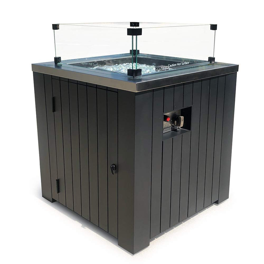 MASE 24'' Classic Square Small Outdoor Patio Propane Gas Fire Pit Table Black Aluminum Body with Stainless Steel Top Fire Glass Rocks Converter Durable Fire Table Cover Included - with Wind Guard Glass by MASE