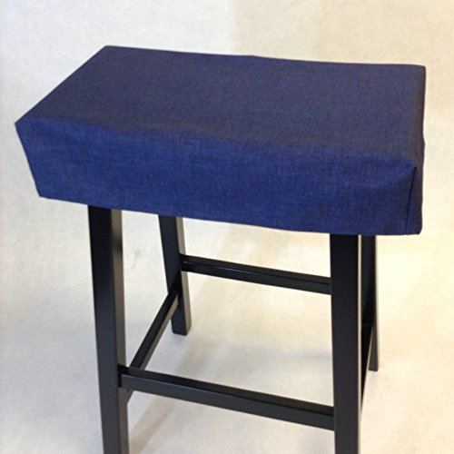 Saddle stool cushioned pad, washable, with or without foam insert. Rectangular backless stool slipcover. ()