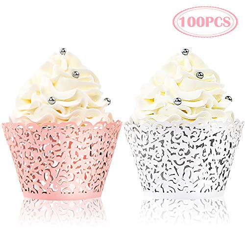 BAKHUK 100pcs Lace Cupcake Wrapper, Laser Baking Cup Liners Holders Muffin Case Trays for Wedding Anniversary Baby Shower Birthday Party Decoration ()