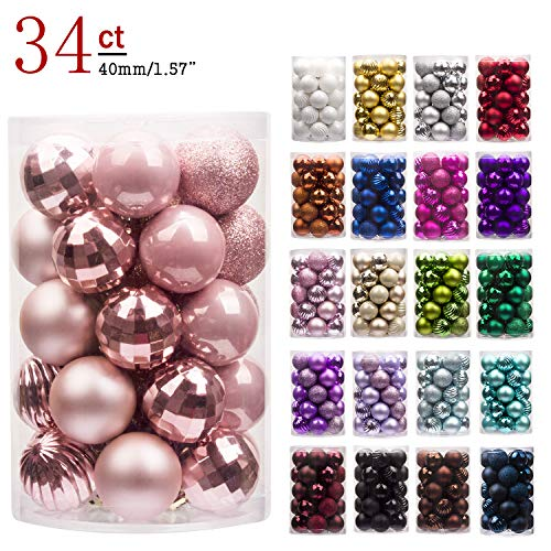 "KI Store 34ct Christmas Ball Ornaments Shatterproof Christmas Decorations Tree Balls Small for Holiday Wedding Party Decoration, Tree Ornaments Hooks Included 1.57"" (40mm Rose Gold)"