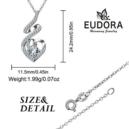 EUDORA Sterling Silver CZ Heart Pendant Necklaces Jewelry for Mother & Daughter,18'' Chain by EUDORA (Image #9)