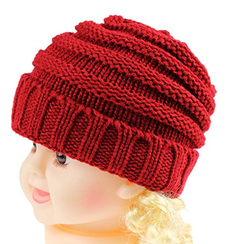 Red Dark Knit Hat (Beanie Hat for Cute Baby Boy/Girl Toddler Ribbed Knit Children¡¯s Winter Cap JAKY Global(Dark Red 1pcs))