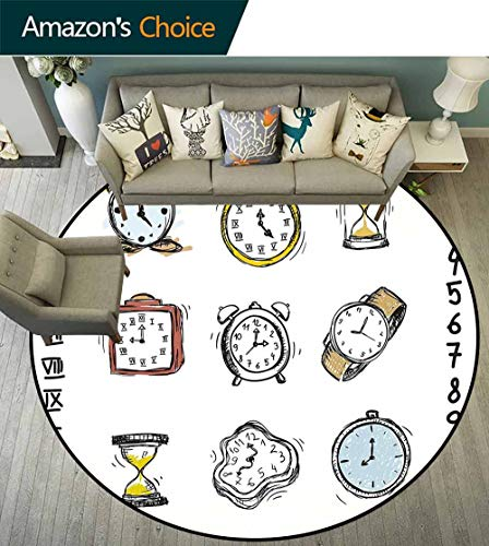 Clock Round Rug Liner,A Collection of Vintage Style Watches and Doodled Clocks Hand Drawn Illustration for Living Room,White and Black,D-63 ()
